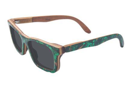 Óculos de sol de madeira com palheta de guitarra verde Leaf Eco Miles Lente Cinza
