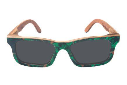 Óculos de Sol de Madeira com Palheta de Guitarra Verde Escura Leaf Eco Miles Lente Cinza