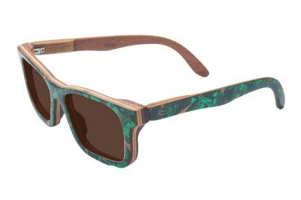 Óculos de sol de madeira com palheta de guitarra verde Leaf Eco Miles Lente Marrom