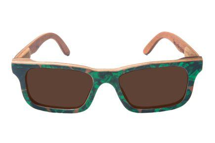 Óculos de Sol de Madeira com Palheta de Guitarra Verde Escura Leaf Eco Miles Lente Marrom