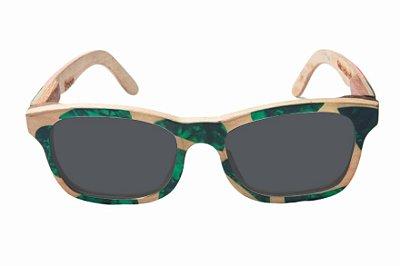 Óculos de Sol de Madeira com Palheta de Guitarra Verde Escura Haste Rosa Leaf Eco Groove Lente Cinza