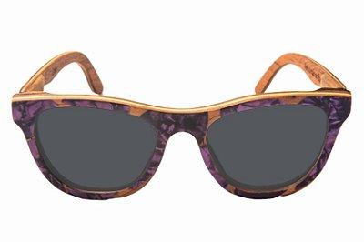 Óculos de Sol de Madeira com Palheta de Guitarra Roxa Leaf Eco Drop Lente Cinza
