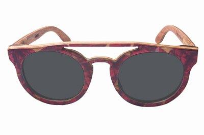 Óculos de Sol de Madeira com Palheta de Guitarra Vermelha Leaf Eco Eleanor Lente Cinza