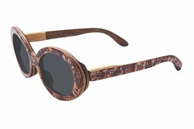 Óculos de Sol de Madeira com Palheta de Guitarra Marrom Leaf Eco Kurt Lente Cinza