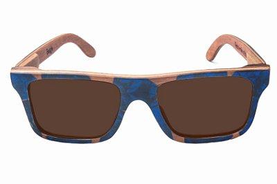 Óculos de Sol de Madeira com Palheta de Guitarra Azul Escura Leaf Eco Beagle Lente Marrom