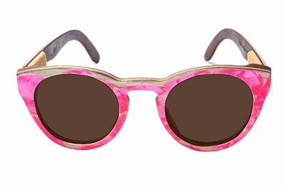 Óculos de Sol de Madeira com Palheta de Guitarra Rosa Leaf Eco Bird Lente Marrom