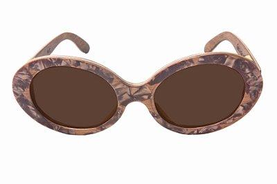 Óculos de Sol de Madeira com Palheta de Guitarra Marrom Leaf Eco Kurt Lente Marrom