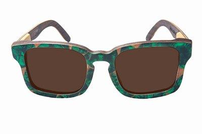 Óculos de Sol de Madeira com Palheta de Guitarra Verde Escura Leaf Eco Louis Lente Marrom