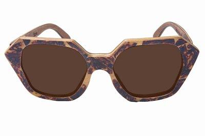 Óculos de Sol de Madeira com Palheta de Guitarra Fogo Leaf Eco Stone Lente Marrom