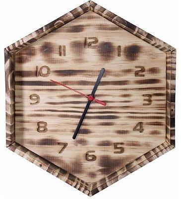 Relógio Sextavado de Pinus Queimado