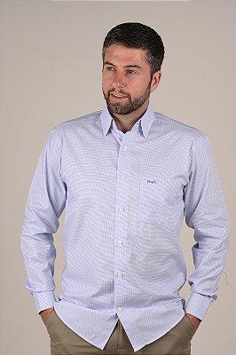 Camisa Branca Xadrez - Manga Longa Tradicional | Fio 60
