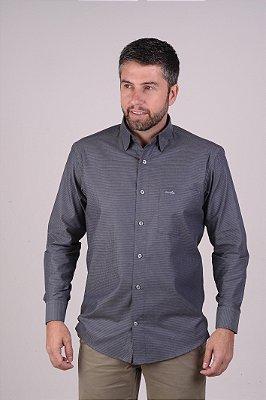 Camisa Cinza Escuro - Manga Longa Tradicional | Fio 60