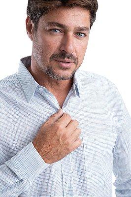 Camisa Xadrez- 67% linho 33% algodão (Branca/Azul)