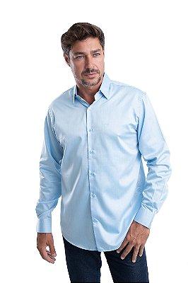 Camisa Lisa – 100% Algodão Fio 100 – (Azul Claro)