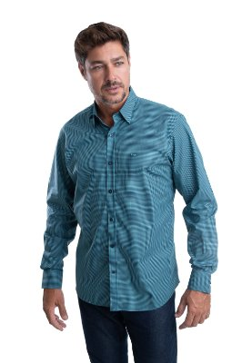 Camisa Xadrez 100% algodão – fio egípcio – (Azul/Verde)