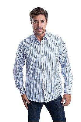 Camisa Xadrez – 100% Algodão – Fio 70 (Branca/Azul)