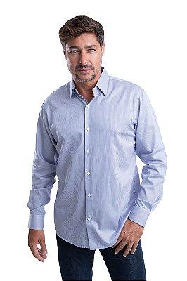 Camisa Listrada – 100% Algodão – fio 80 (azul marinho/branca)