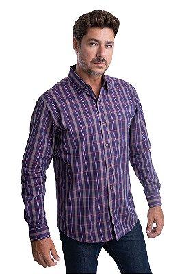Camisa Xadrez - 100% algodão - fio 50 (vinho/bege)