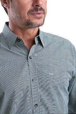 Camisa Xadrez – 100% Algodão – Fio Egípcio – (Azul/Verde)