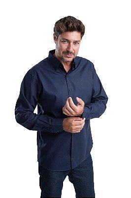 Camisa Maquineta – 100% algodão – Fio 60 (azul marinho)
