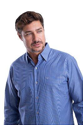Camisa Maquineta – 100% algodão - Fio 70 (Azul bege)