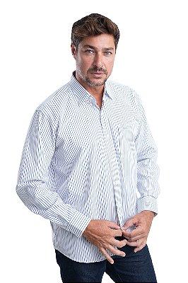 Camisa Listrada - 100% algodão - Fio 70 (Branco/Azul )