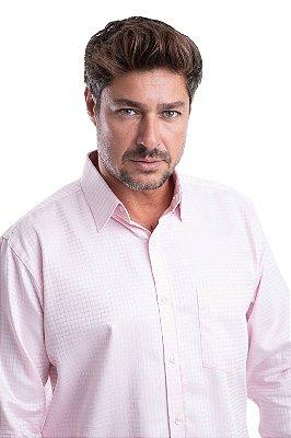 Camisa Xadrez Acetinado - 100% algodão fio egípcio (rosa/branco)