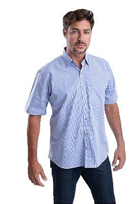 Camisa Xadrez - 100 algodão – Fio 50 (Branco/Azul)