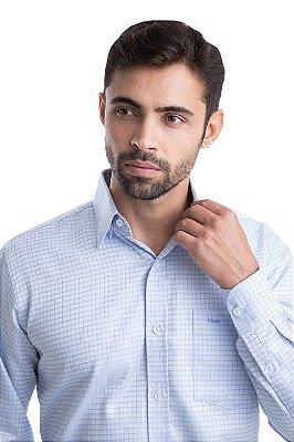 Camisa Xadrez Acetinado – 100% algodão fio egípcio (Azul Claro)