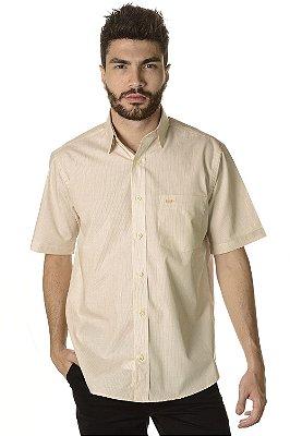 Camisa Listrada - Manga Curta Tradicional - 100% Algodão - Fio 60