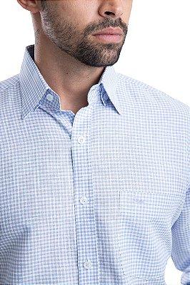 Camisa Xadrez- 67% Linho 33% Algodão (azul/branca)