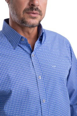 Camisa Xadrez – 100% algodão –fio 70 (azul/branca)