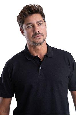 Gola Polo – Piquet Liso 100% algodão  – Fio Pima  (cor preta )