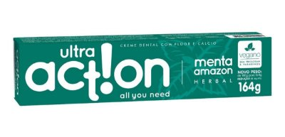 Creme dental com flúor e cálcio Ultra action Menta amazon herbal 164g