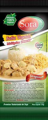 Proteína texturizada condimentada sabor carne branca. 125g (fatias pequenas)