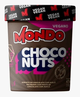 Sorvete vegano Mondo Choconuts 473ml Chocolate com Avelã