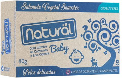 Sabonete Vegetal Com extratos de camomila e Erva Cidreira (Baby) Suavetex 80g