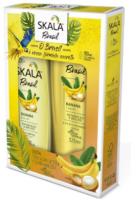 Kit Sampoo 325ml + Condicionador 325ml Banana e Bacuri Skala (vegano)