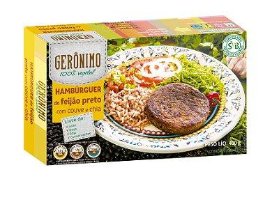 Hambúrguer de feijão preto com couve e chia Gerônimo 400g (congelado) Embalagem com 4 unidades