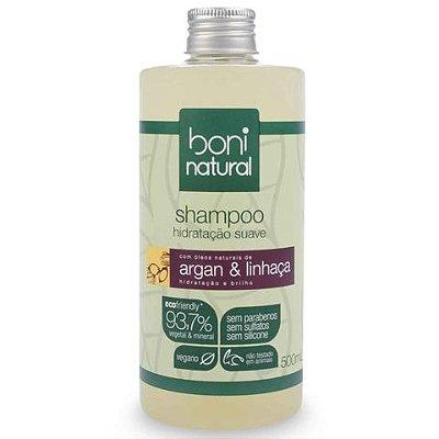 Shampoo Hidratação Suave Argan & Linhaça Boni Natural 500mL