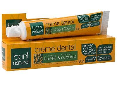 Creme Dental Boni Natural vegano de Hortelã e Cúrcuma sem flúor 90g