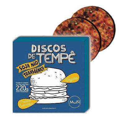Discos de Tempê de soja não transgênica temperados 220g (Embalagem com 2 unidades de 110g cada) Congelado