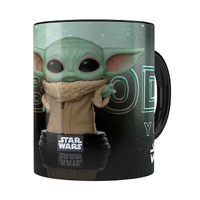 Caneca Baby Yoda 3D Print Star Wars v02 Preta