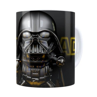 Caneca Darth Vader 3D Print Star Wars Yellow Branca