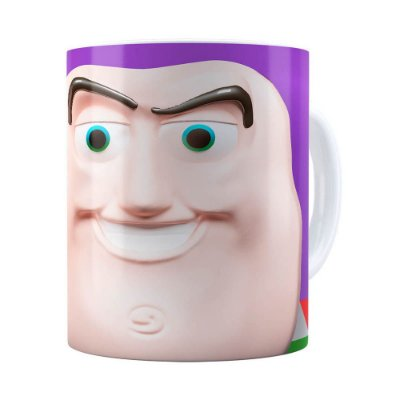 Caneca Buzz Lightyear 3D Print Toy Story Branca