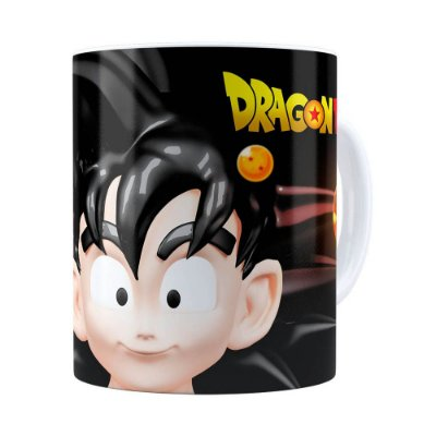 Caneca Goku 3D Print Dragon Ball Super Branca