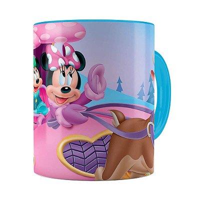 Caneca Minnie Mouse Rena Azul Claro