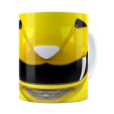 Caneca Ranger Amarelo 3D Print Power Rangers Branca