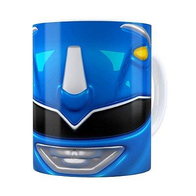 Caneca Ranger Azul 3D Print Power Rangers Branca