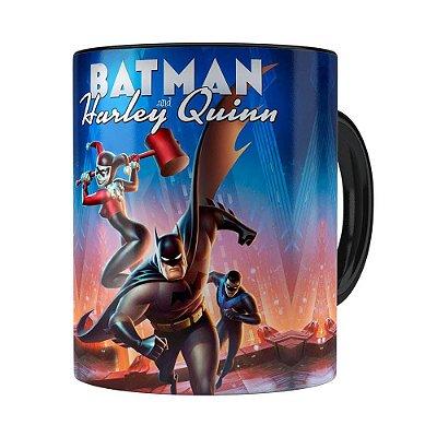 Caneca Batman e Arlequina 3D Print Preta